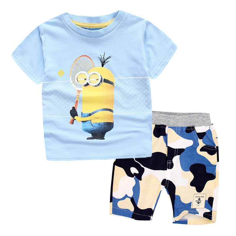 3-10 years Children Clothing Set Minions T-Shirt+ Pants 100% Cotton Sports suit Summer Casual Outfits for Boy Clothes Set Baby summer baby boy clothing set jeans pants white gray t shirt children clothes 3 pieces sets for boys suit outfits 1 2 3 4 5 6 y