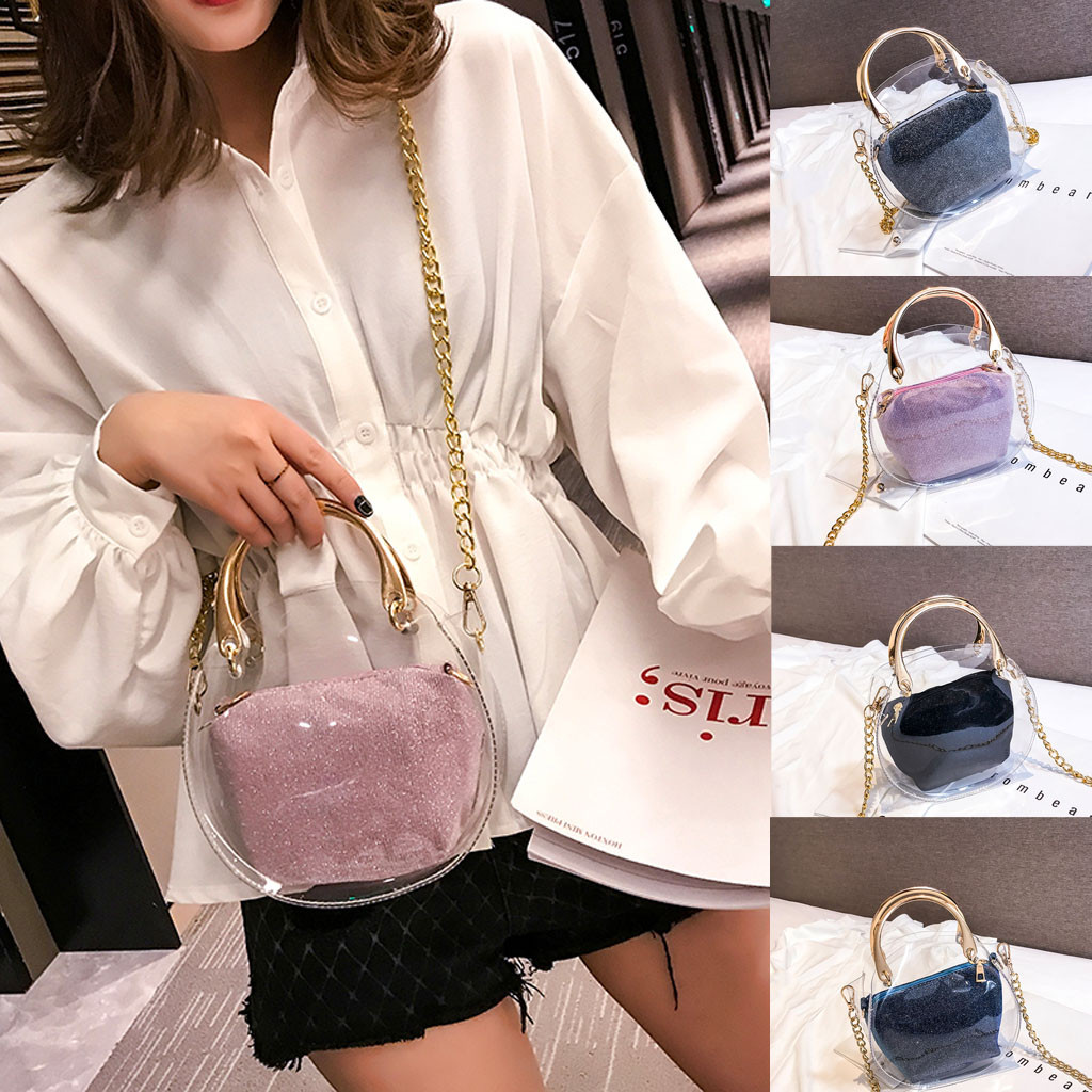 Fashion Women Bag Set Transparent Shoulder Bag+Clutch For Teenage Girls Fashion Jelly Crossbody Bag Circle Handle Tote(China)