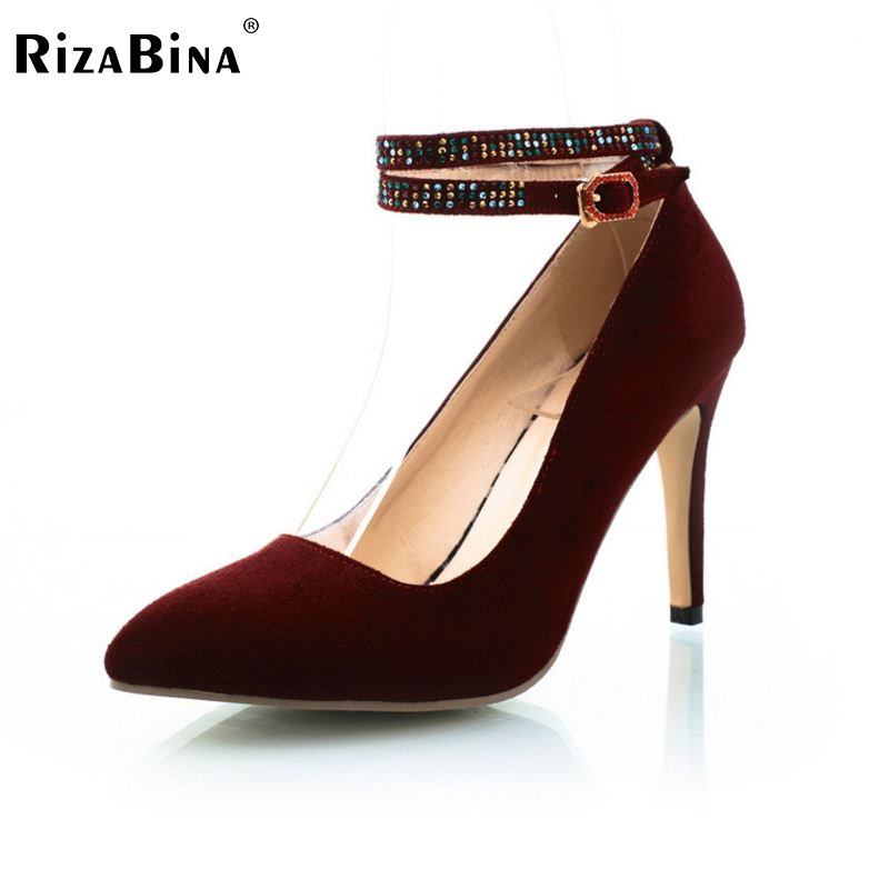 women pointed toe buckle high heel shoes party lady sexy brand female fashion heeled pumps heels shoes size 34-43 P16893