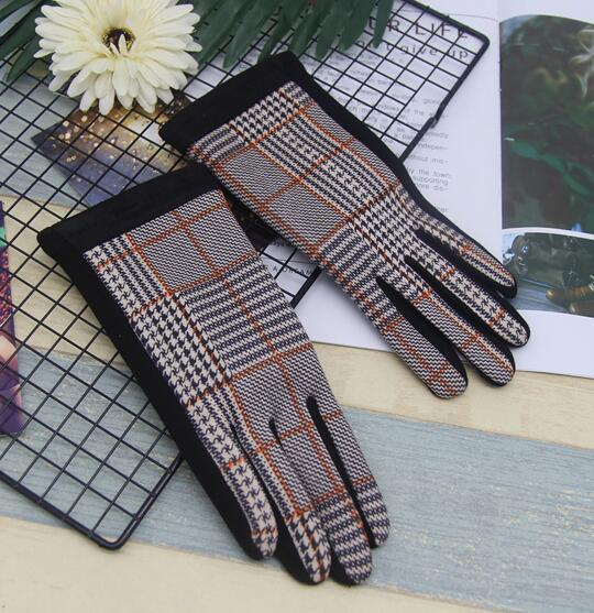 Women's Winter Warm Fleece Lining Plaid Checked Riding Glove Girls Fashion Faux Suede Leather Winter Driving Glove R659