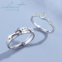 inbeaut Siver Princess Knight Colorful Zircon Couple Rings 925 Light Blue Tear Stone Ring for Women Wedding Jewelry Teen Girls