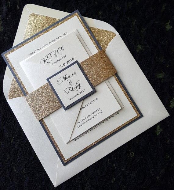 Bespoke Gold oder Silber Glitzernde Hochzeit Einladungen mit RSVP-in Karten & Einladungen aus Heim und Garten bei  Gruppe 1