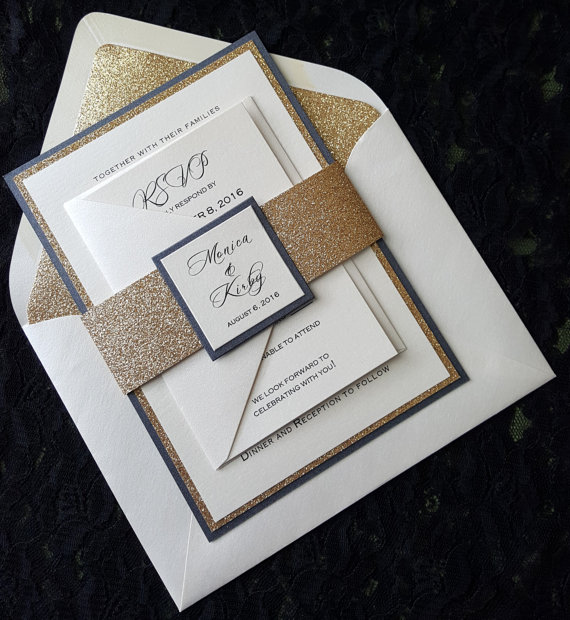 مفصل الذهب أو الفضة التألق دعوات زفاف مع RSVP-في بطاقات ودعوات من المنزل والحديقة على  مجموعة 1