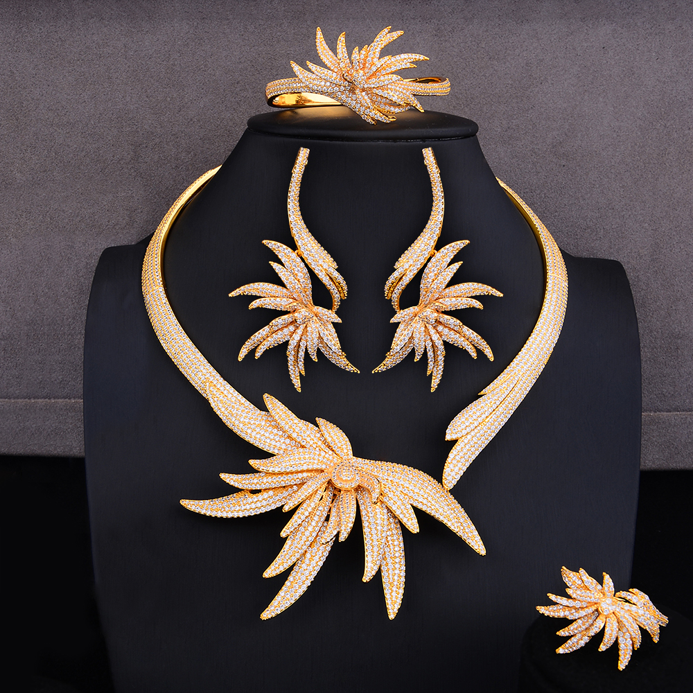 GODKI Luxury Palm Tree Leaf Nigerian Choker Jewelry sets For Women Wedding Cubic Zircon CZ Dubai Gold Bridal Jewelry Set 2019