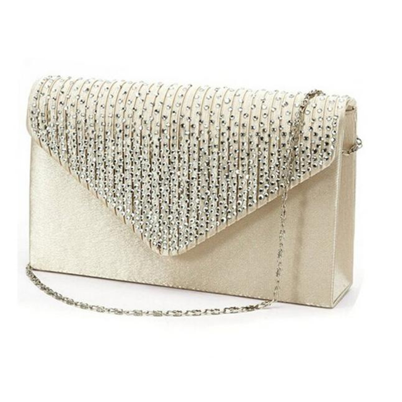 Bridal Diamante Bling Bling Clutch Bag Rhinestone Encrusted Party Baguette Bag For Ladies Free Shipping
