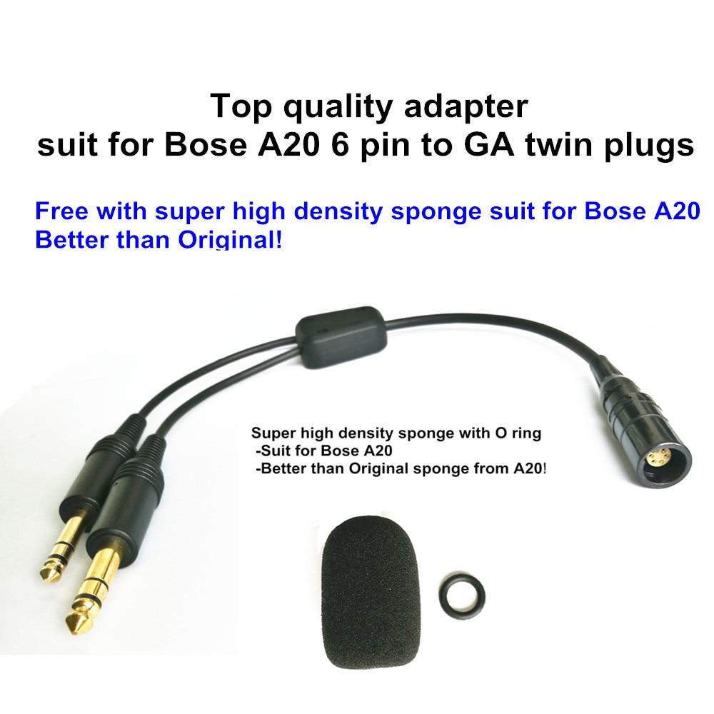 Bose A20 Lemo 6 Pin To General Aviation Twin Plugs Adapter Aviation Headset