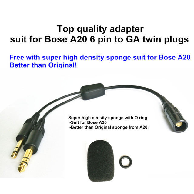 1221f438c16 Bose A20 Lemo 6 pin to general aviation twin plugs adapter aviation headset