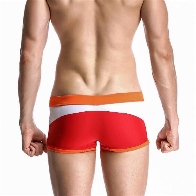 Topdudes.com - Men's Sexy Low Waist Patchwork Boxer Beach Trunks