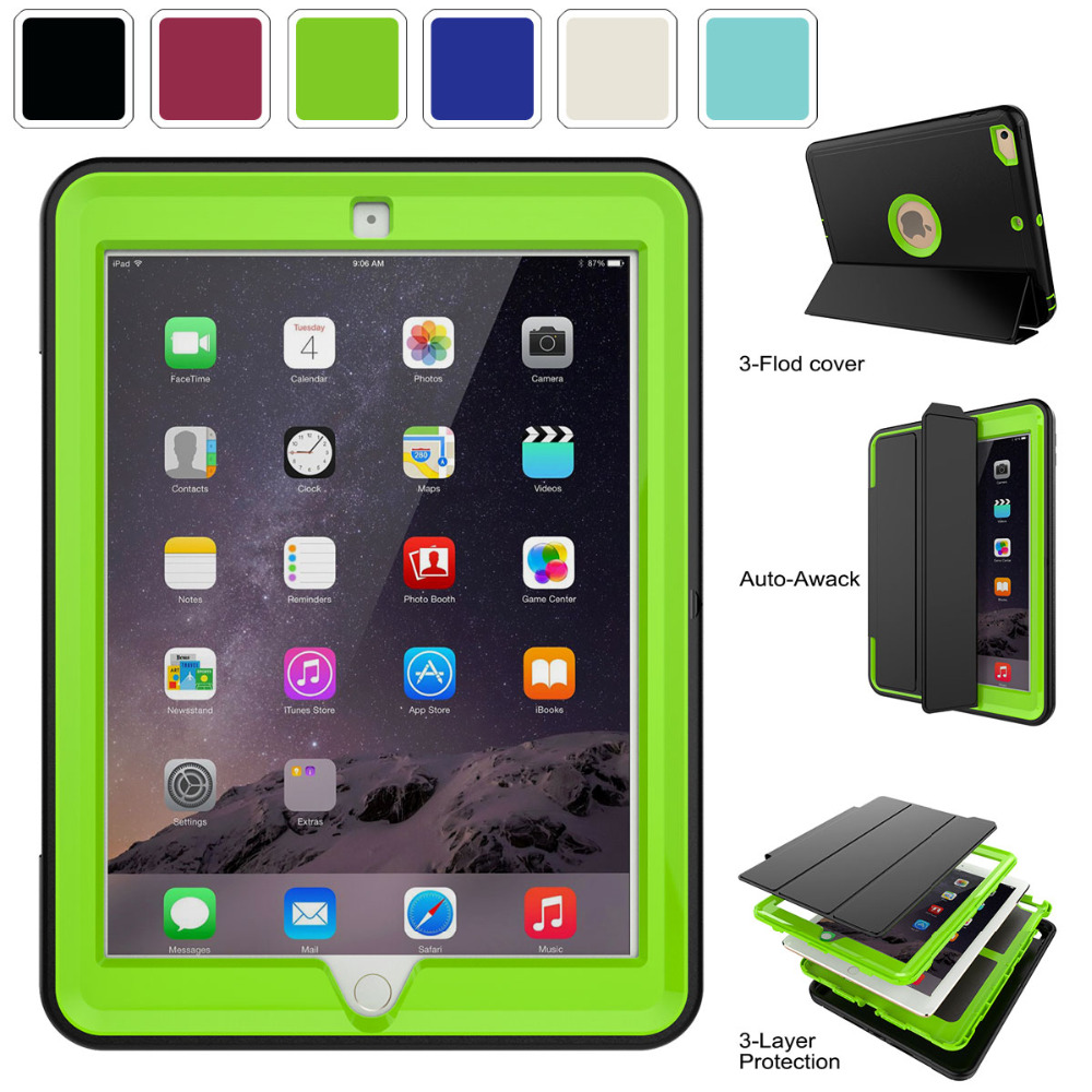 Case For iPad 9.7 6th 5th Generation 2018 2017 Case Slim Auto Sleep Smart Leather Cover Shockproof Stand With Screen Protector