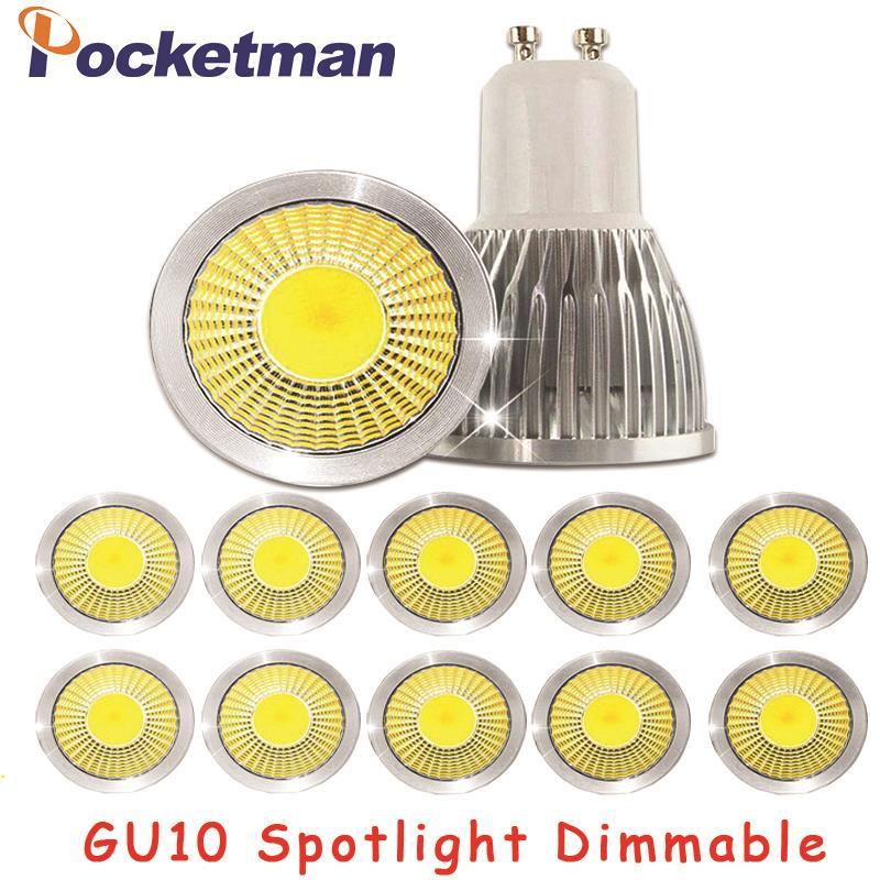 Gu10 Led regulable foco Led bombilla de luz 15W 10W 7W Gu10 foco Led cob lámpara Gu10 bombilla Led AC85-265v Lampada Lámpara LED de noche con Sensor de movimiento PIR, lámpara LED de noche, lámpara de techo para sala de estar