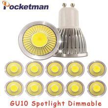Projecteur Led Cob, lumière à intensité réglable, ampoule Led Gu10 15W, 10W, 7W, Gu10, lumière AC85 265v