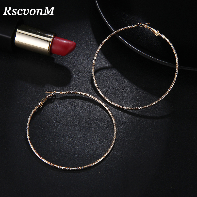 RscvonM Big Gold Hoop Earrings Basketball Brincos Round Silver Large Circle Party Earrings For Women Jewelry Bijoux Accessory