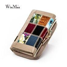 Winmax yeni patchwork küçük kadın cüzdan kadın hakiki deri kadın cüzdan fermuar tasarım bozuk para cüzdanı cepler para organizatör