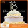 Hot Sale Gold Plated Number 18 Crystal Rhinestone Monogram Cake Toppers For Wedding Decoration 20pieces A