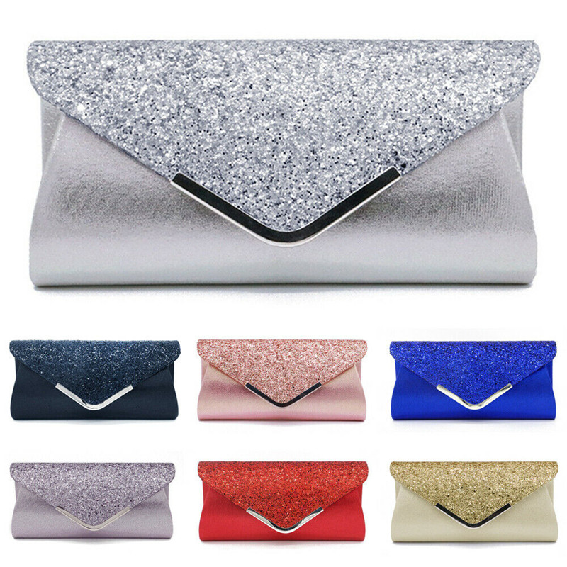 NoEnName 2019 Women's Glitter Shimmer Envelope Ladies Sequins Evening Party Prom Smart Jane Clutch Bag  Handbag