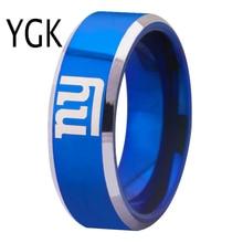 Envío Gratis aduana grabado anillo de Venta caliente 8mm azul con bordes brillantes Nueva York Giants logo anillo de boda del tungsteno
