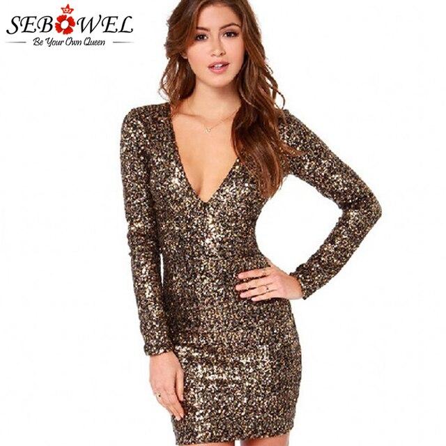 5a2f6855748ed SEBOWEL Sexy Gold Sequin Club Dress Women Long Sleeve Glitter Bodycon Mini  Party Dress Sparkle Female Shine Slim Pencil Dresses