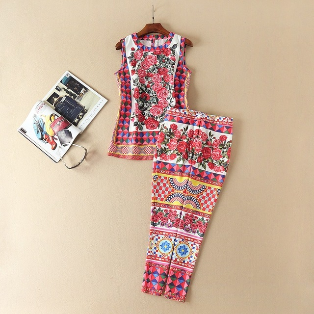 2017 European Women's New Spring And Summer Floral Printing Vest + Calf-length Pant Two Piece Suit