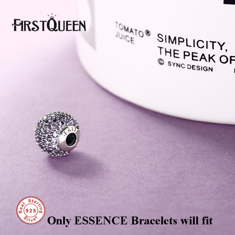 FirstQueen 925 Sterling Silver Faith Charm Essence Beads Fit Essence 925 Bracelets Bangles DIY For Jewery Making Fine Jewelry