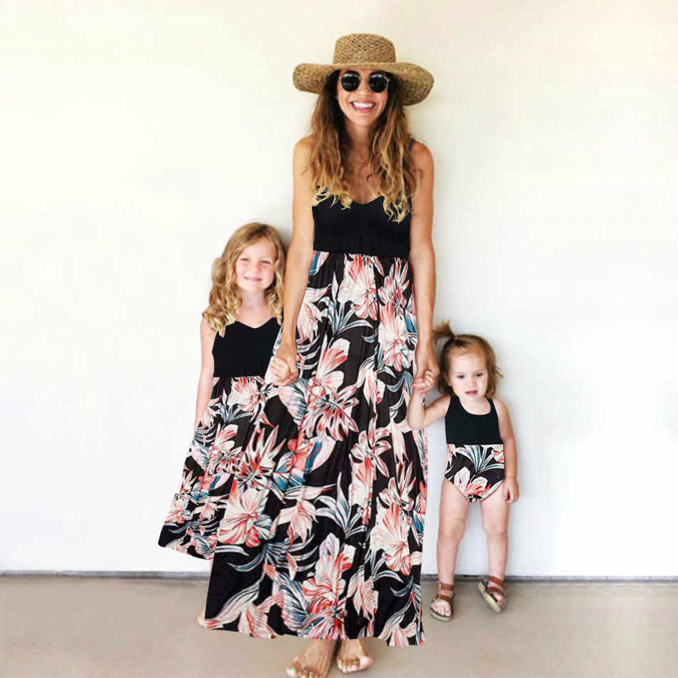 Mommy And Me Clothes Patchwork Print Sling Long Dress Baby Romper Jumpsuit 2019 Baby Girl Clothes Mom And Daughter Dress