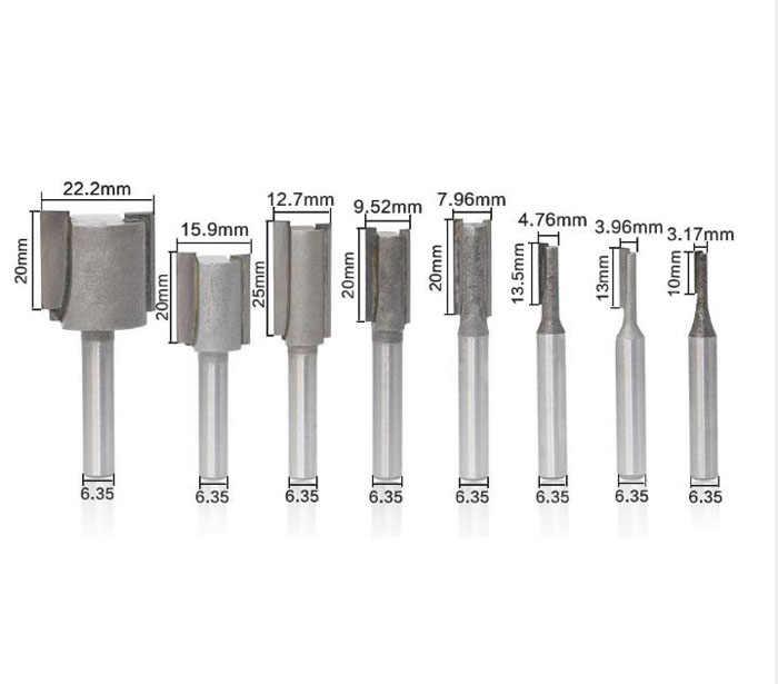 T-Slot frezy 8 sztuk/zestaw 1/4 cholewka prosto/Dado Router Bit zestaw średnica narzędzia do cięcia drewna wysokiej jakości
