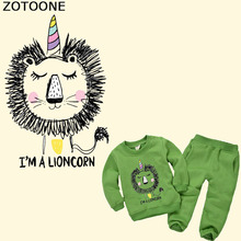 ZOTOONE Cartoon Unicorn Patch Iron on Transfer Lion Patches for Kids Clothes T-shirt Applique Heat Vinyl Thermal Press