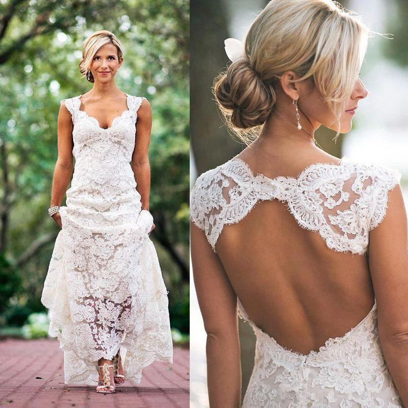 2016 Chic Rustic Full Lace Wedding Dresses Cheap V Neck Hollow Back ...