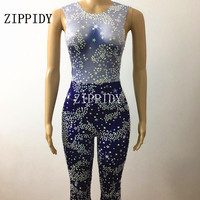 Bling Crystals Diamonds Sparkly Stars Blue Sky Sexy Jumpsuit Stage Performance Women Costume Bar Singer Birthday One Piece Wear