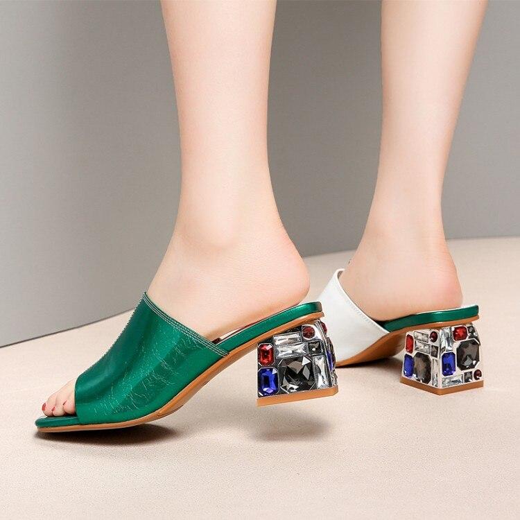 2019 De Oro Sandalias Genuino Mujer Zapatos Las Nuevas Tacones Verano Calidad verde Cuadrados Zapatillas Altos Mujeres Alta Cuero atrt1Zqx