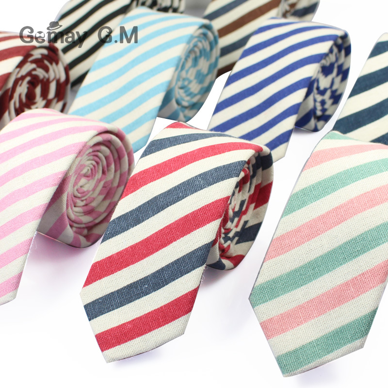 Mens Striped Ties Wedding Groom Linen Necktie Tuxedo Cotton Tie Corbatas Slim Vestidos Fashion Causal Male Neckties Neck Ties