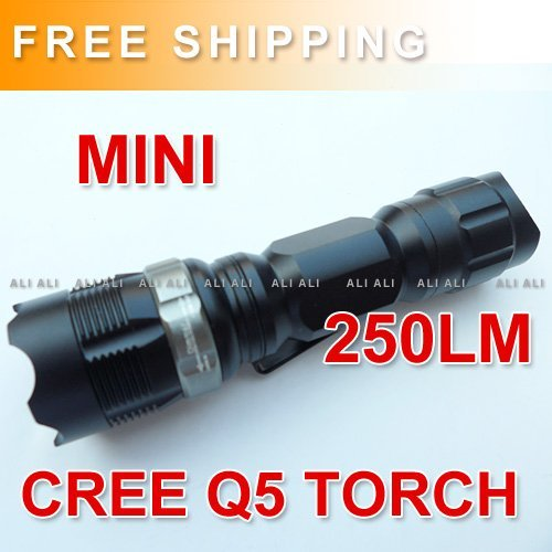 Free Shipping MINI CREE Q5 LED Flashlight Torch Zoom ZOOMABLE 14500 AA 1PCS NEW