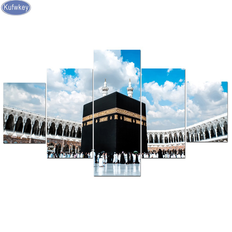 Home Decor Sincere 5 Panel Canvas Islamic Wall Art Print Mecca Islamic Last Day Of Hajj Round Ornament View Muslim Mosque Landscape Christmas Gifts