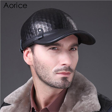 HL070 Genuine Leather hat cadet cap biker motorcycle star studded man baseball