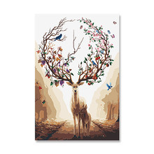 Deer's rights and money wealth h painting decoration DIY animal h-painted modern fresco art canvas(China)