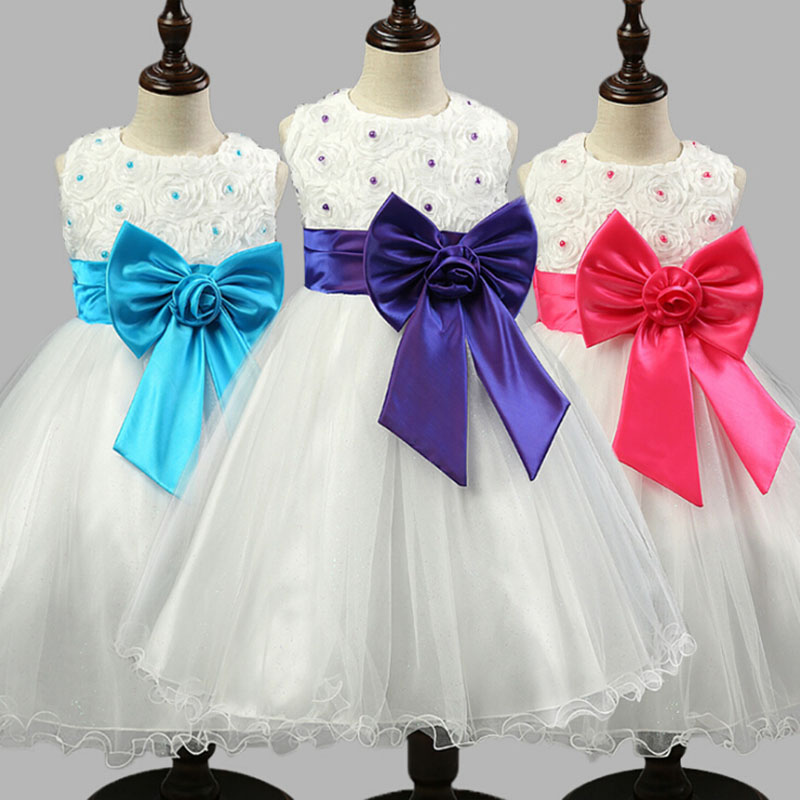 2017 Hot Flower Girl Dresses for Weddings Pageant White First Holy Lace Communion Dress Little Children Junior Child Bridesmaid