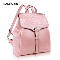 Nice Woman Crocodile Alligaor Backpacks High Quality Genuine Leather Bags For Teenager Girls Women Travel Backpack