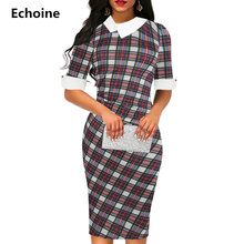 Women Plaid Print Pater Pan Vintage Midi Dress Sheath Bodycon Office Pencil Dress Woman Elegant Party Vestidos Short Sleeve plaid print pencil dress
