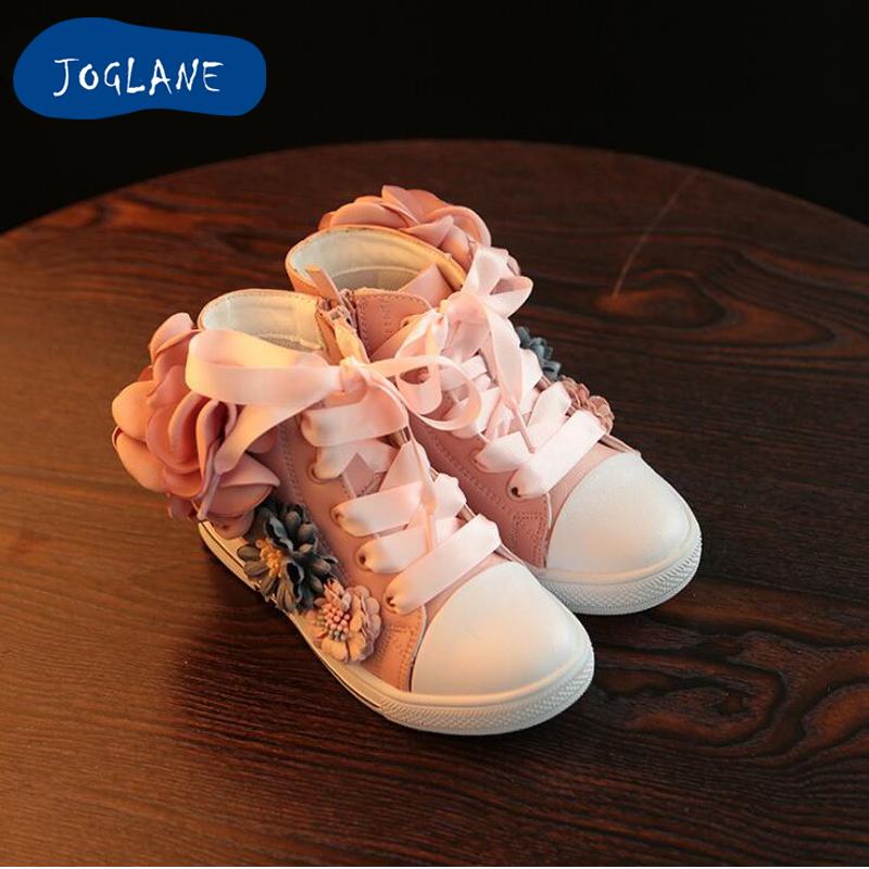 Girl Boots with Flowers 2018 Autumn new Children's shoes flower design princess fashion pink boots kids birthday soft boots gift