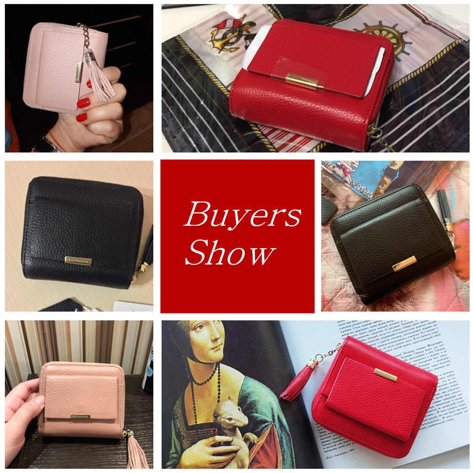 Женский кошелек из 100% кожи BISON DENIM, розовый кошелек на молнии, с карманом для монет и отделениями для карт, дамский маленький бумажник, 2019