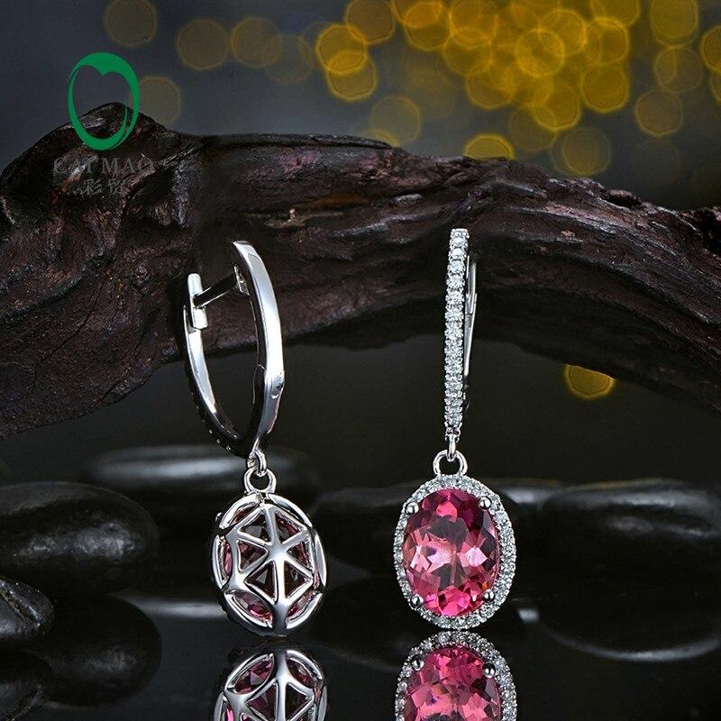 Caimao Jewelry 18KT White Gold 6x8mm Oval Cut 2.16ct Pink Tourmaline & 0.30ct Diamond Engagement Earrings free shipping 13
