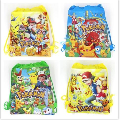12Pcs Pokemon Haunter Cartoon Kids Drawstring Backpack Shopping School Traveling Party Bags Birthday Gifts