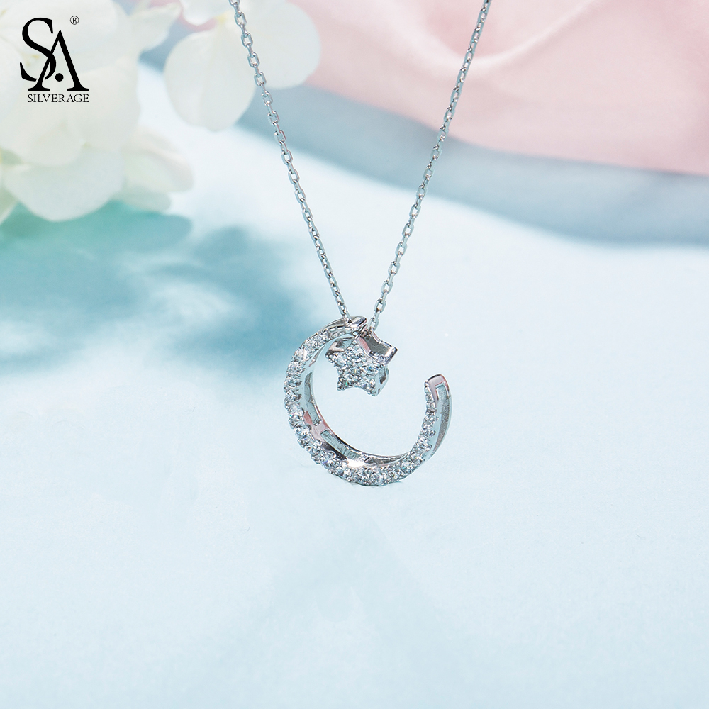 Nuovo Anno del Regalo 925 Sterling Silver Moon Star Pendant Necklace AAA Zirconia Collane Gioielli Per Le Donne 2.84g/15mm * 20mm