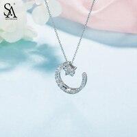 SA SILVERAGE 925 Sterling Silver Choker Necklaces Pendants For Women Fine Jewelry Star Moon 925 Silver