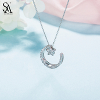SA SILVERAGE 925 Sterling Silver Choker Necklaces Pendants For Women Fine Jewelry Star Moon 925 Silver