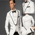 Cheap wedding tuxedos White and Black Groom Tuxedos 2015 Formal Best Men's Suits Groomsman Bridegroom Wear (Jacket+Pants+Tie)