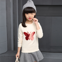2017 Brand Baby Girl Sweaters Butterfly Sequins Pullover Kids Girls Knitted Sweater For 1 2 3