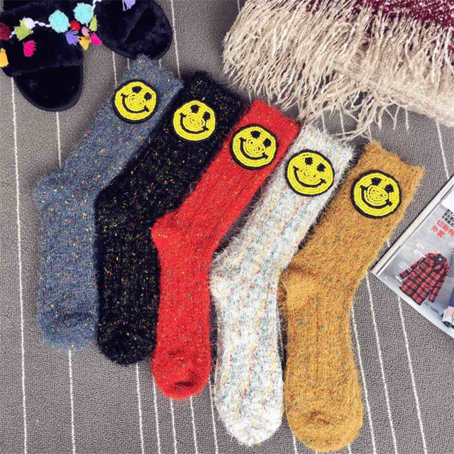 Handmade Japanese Street Fashion Thick Socks Women Girls High Socks Smiling Face Patches Warm Socks Sokken 2018 Spring Winter