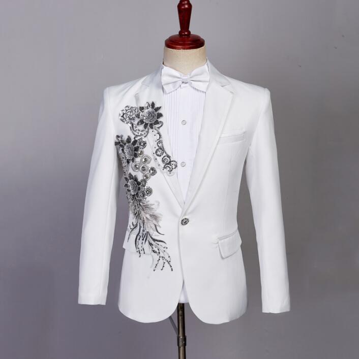 White Blazer men formal dress latest coat pant designs singer Sequin suit men fashion masculino trouser wedding suits men 39 s tie in Blazers from Men 39 s Clothing