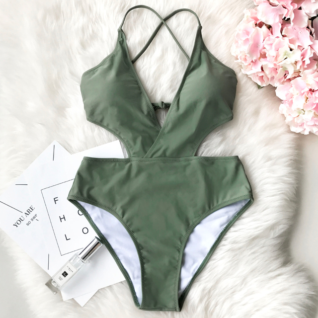 CUPSHE She's The Man Halter Solid Color One Piece Swimsuit Summer Sexy Backless Bikini Set Ladies Beach Bathing Suit Swimwear