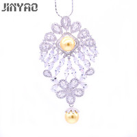 JINYAO Vintage Flowerl Pearl& AAA Zircon White Gold Color Brooch Pin/Pendant For Women Party Versatility Jewelry